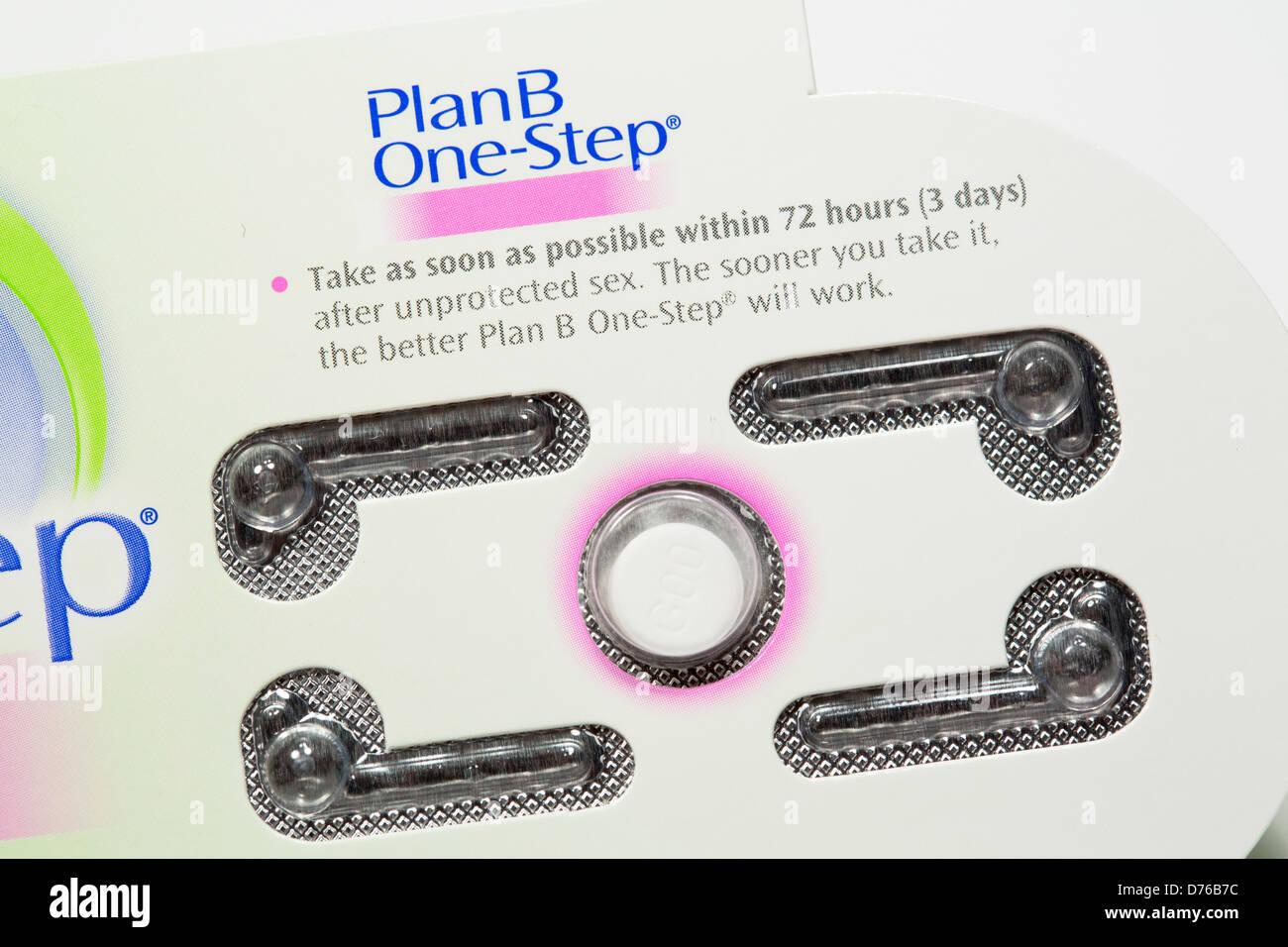 """Ein Plan B (Levonorgestrel) empfängnisverhütende Pille, auch bekannt als der """"Morgen danach Pille"""" Stockbild"""