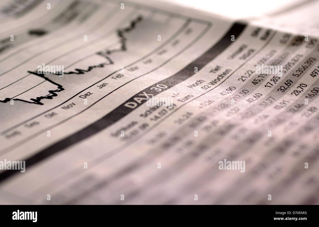 Fallenden Aktien-Index DAX deutsche Zeitung Stockbild