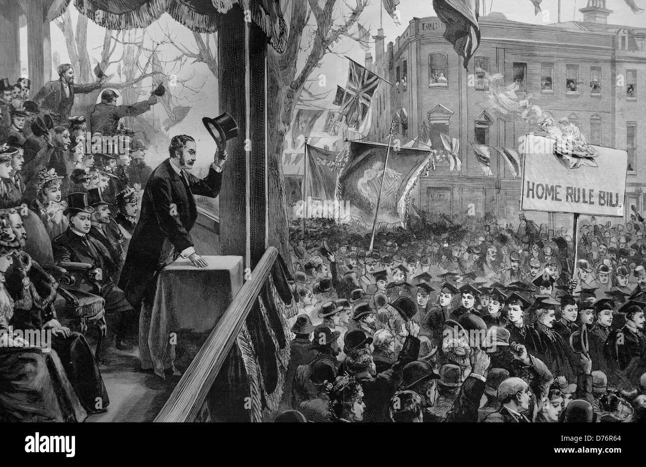 Der Protest gegen die Selbstverwaltung-Rechnung in Belfast, linken Arthur Balfour, Chief Secretary for Ireland, Stockbild