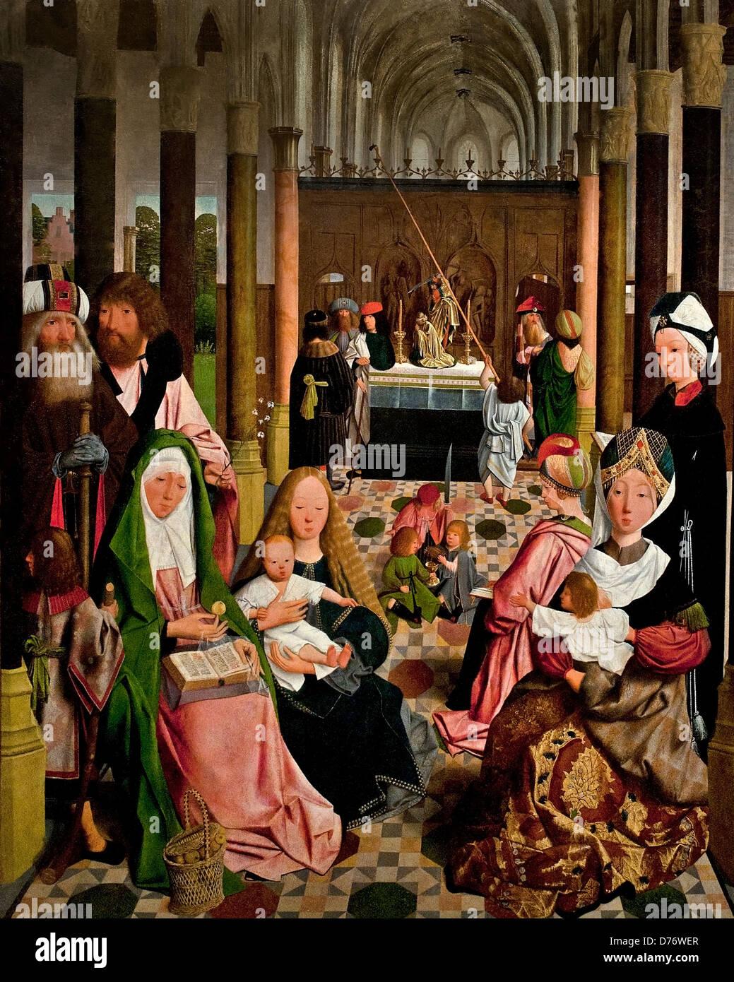 Der Heilige Verwandtschaft 1495-Workshop des niederländischen Malers Geertgen tot Sint Jans 1460 nach 1490 Leiden Stockfoto