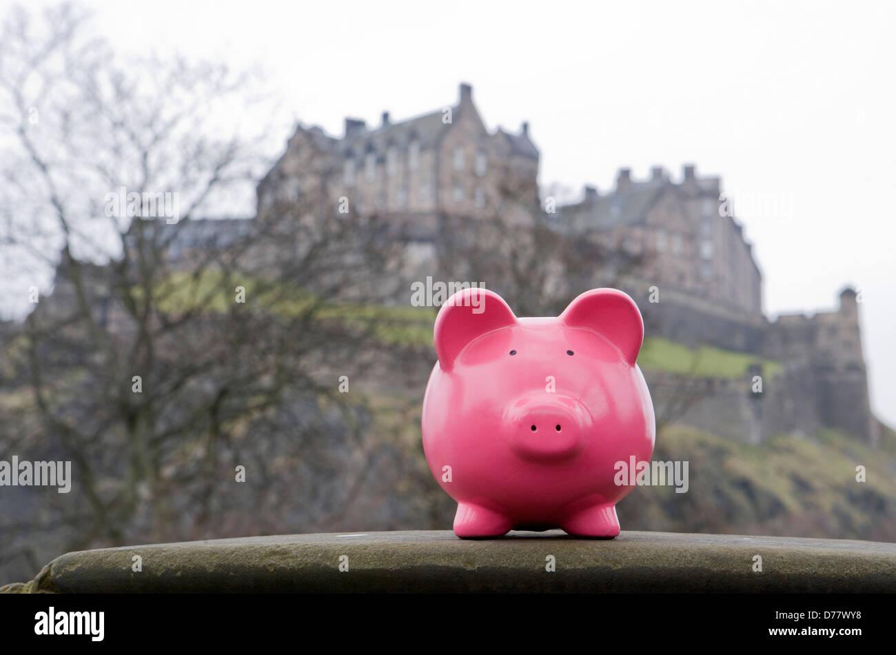 Geld sparen in Schottland Stockbild