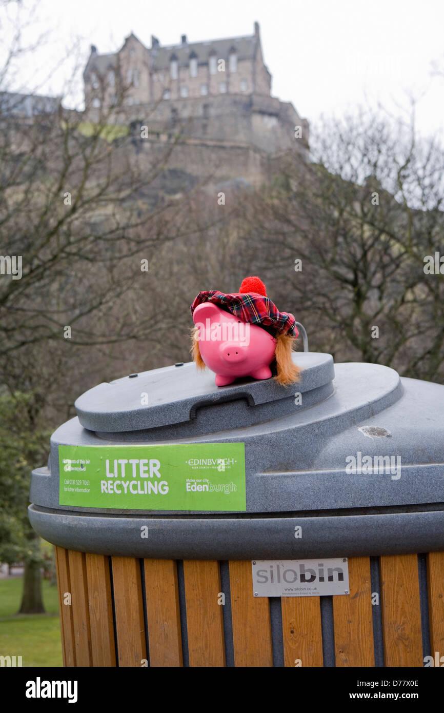 Edinburgh Silobin Geld sparen Stockbild