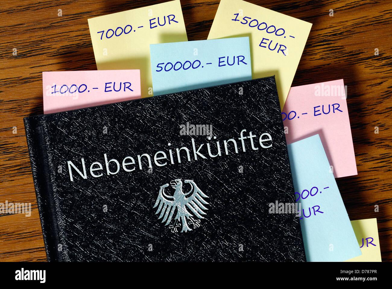 Zusätzliche Einnahmen der deutschen Mitglieder des Deutschen Bundestages, symbolische Foto Stockbild