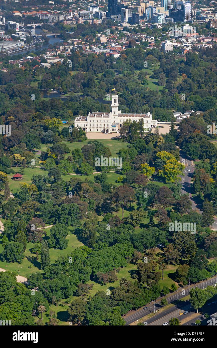 Luftaufnahme des Government House, Melbourne, Australien Stockbild