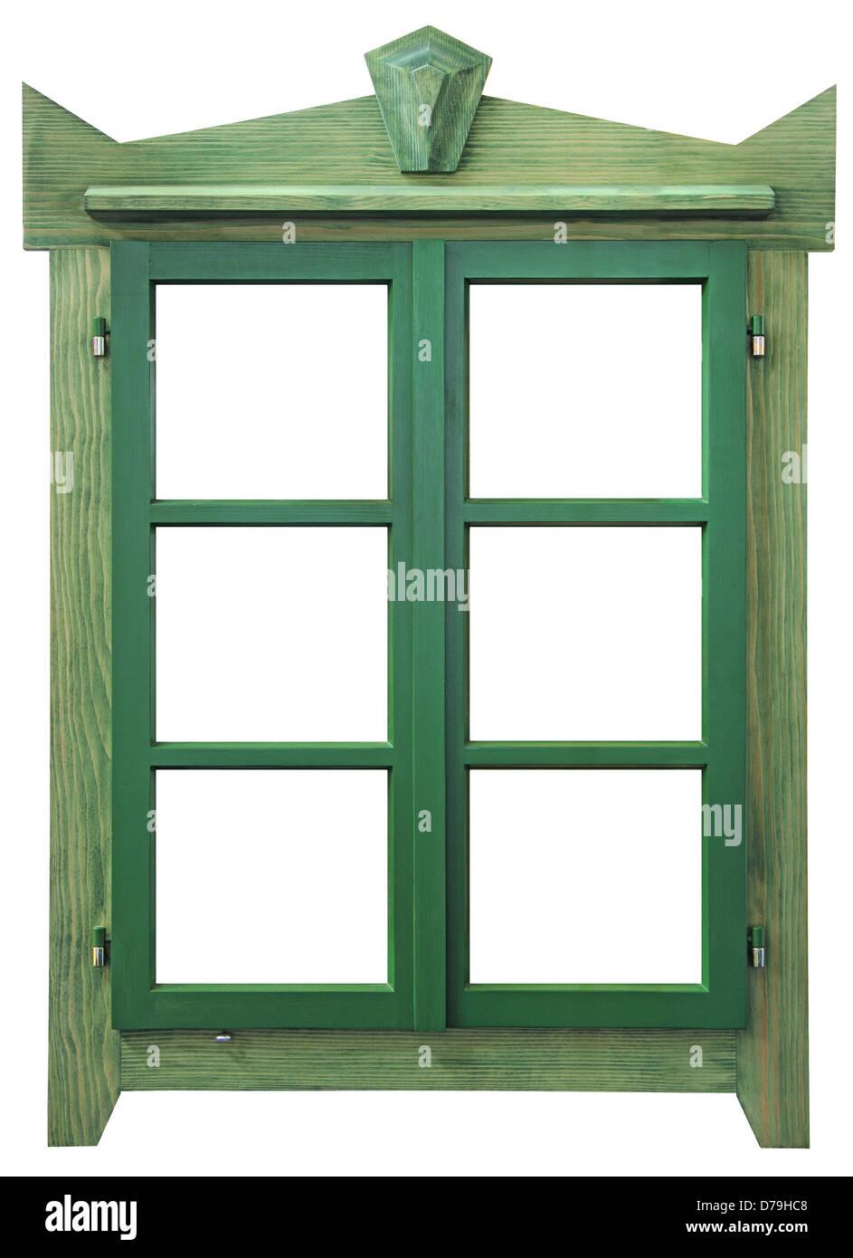 Grünes Holz Fenster isoliert auf weißem Hintergrund Stockbild