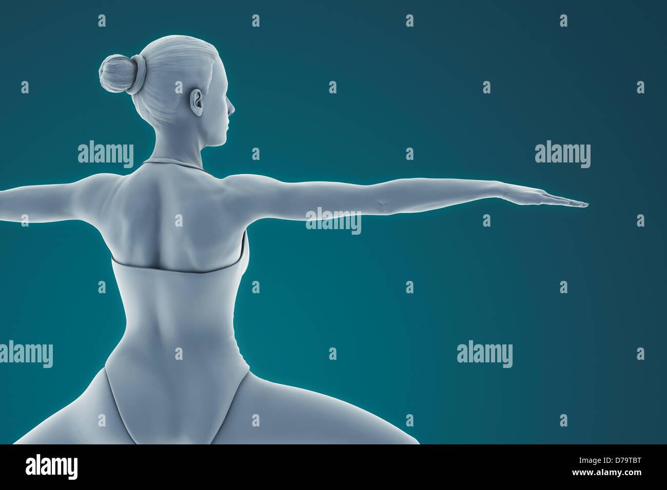 Yoga-Krieger-Pose Stockbild