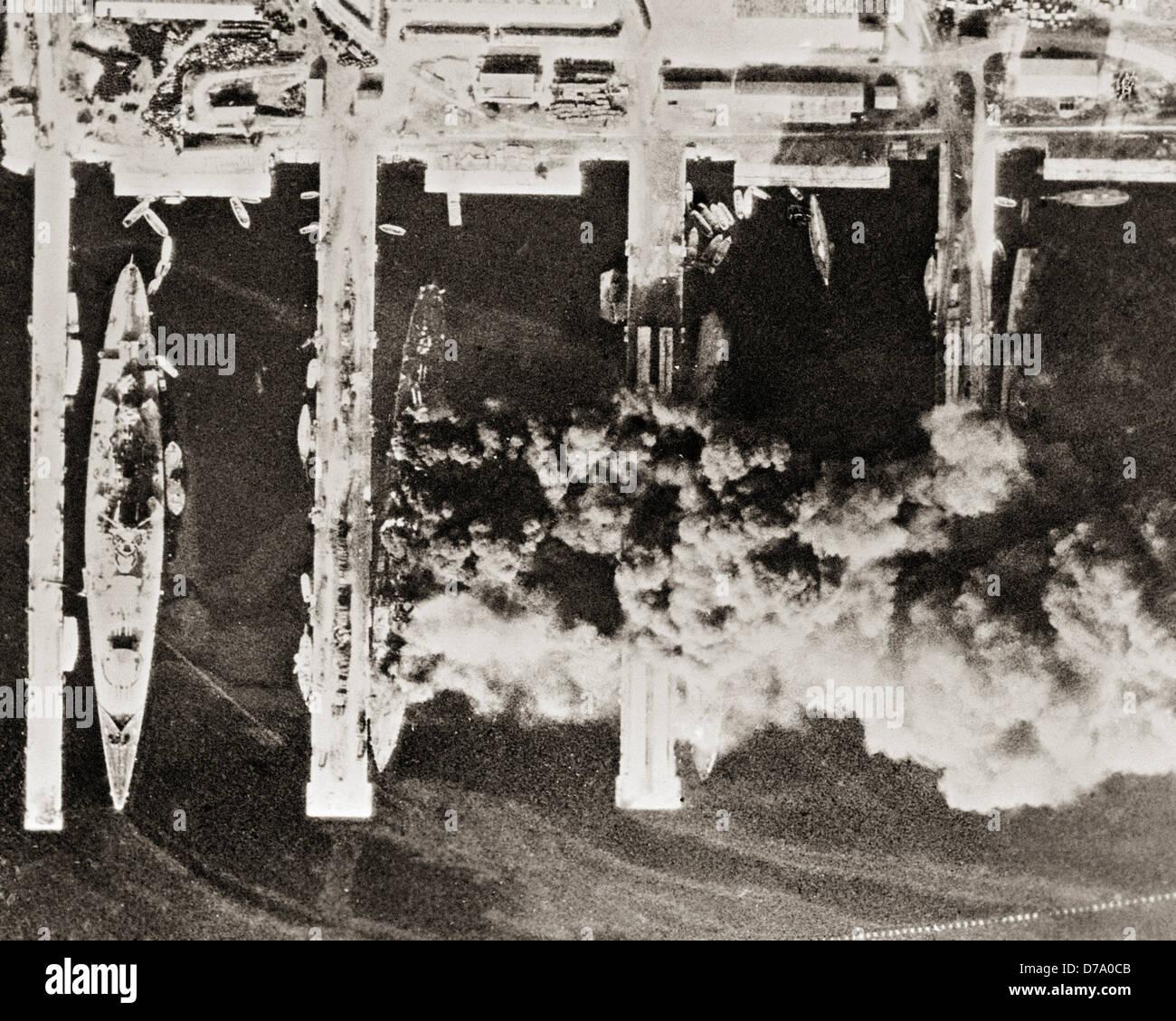 Versenkung der französischen Flotte in Toulon. Stockbild