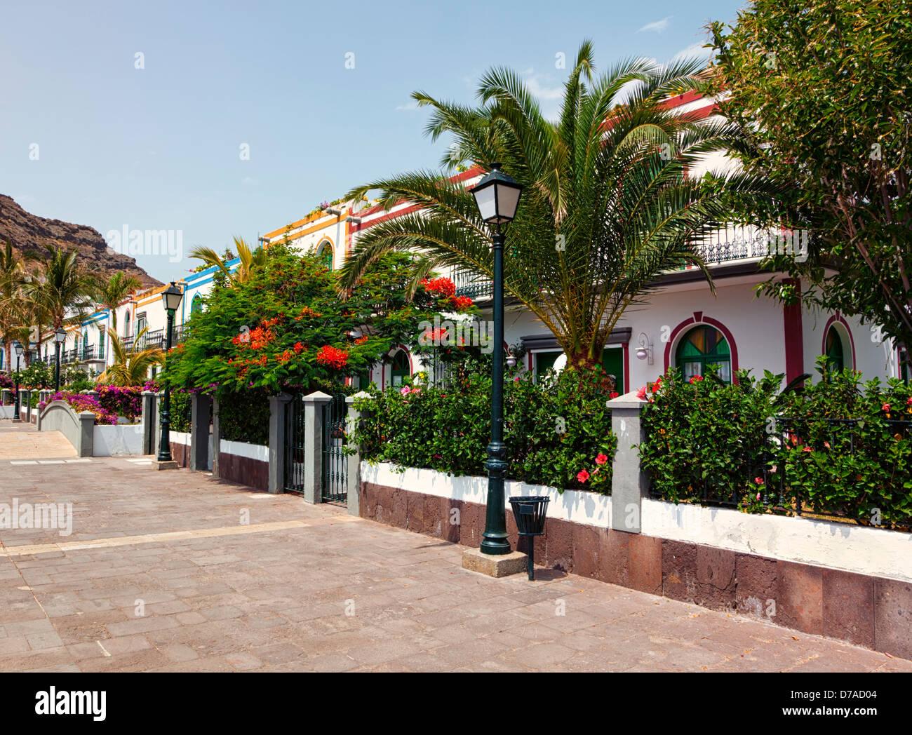 Bunte Häuser am Puerto de Mogan, Gran Canaria Stockbild