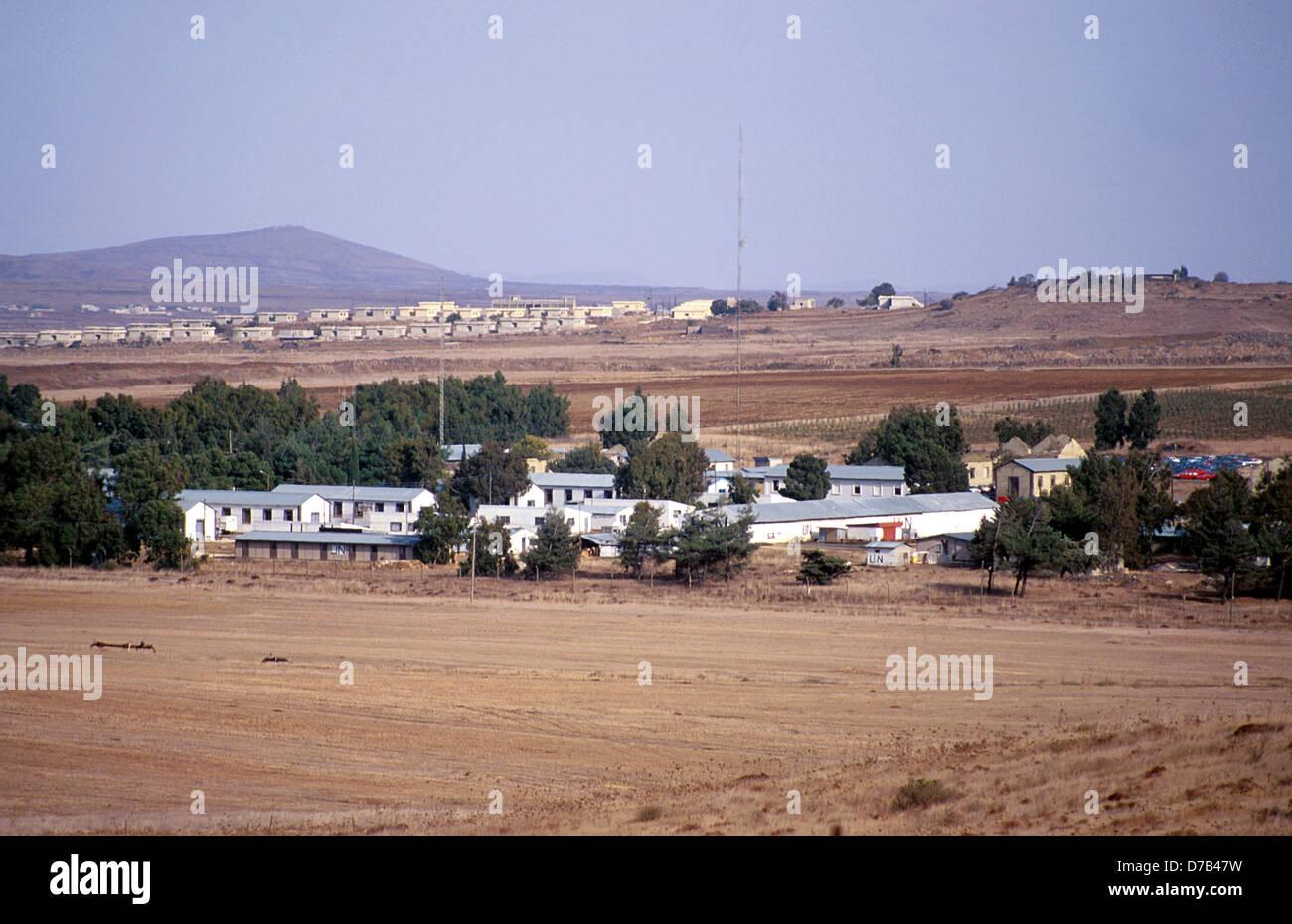 UN (UNIFIL) Camp in der Nähe von kuneitra Stockbild