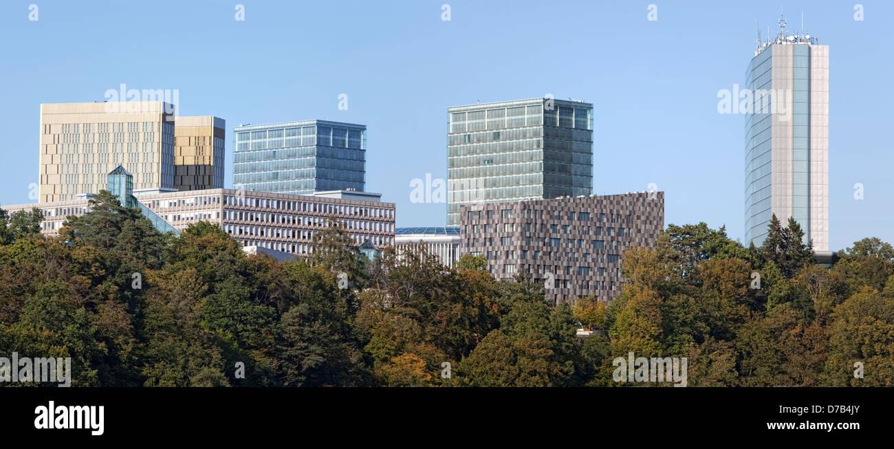 Blick auf die EU-Gebäude im Europäischen Viertel, Kirchberg-Plateau, Luxemburg-Stadt, Europa Stockbild
