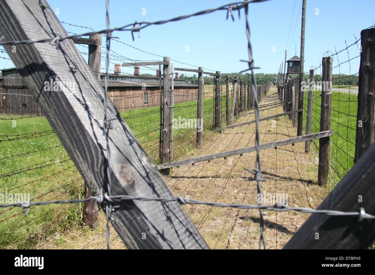 Stacheldraht Kabelgebundene Zaun Rund Um Haftlinge Kasernen Im