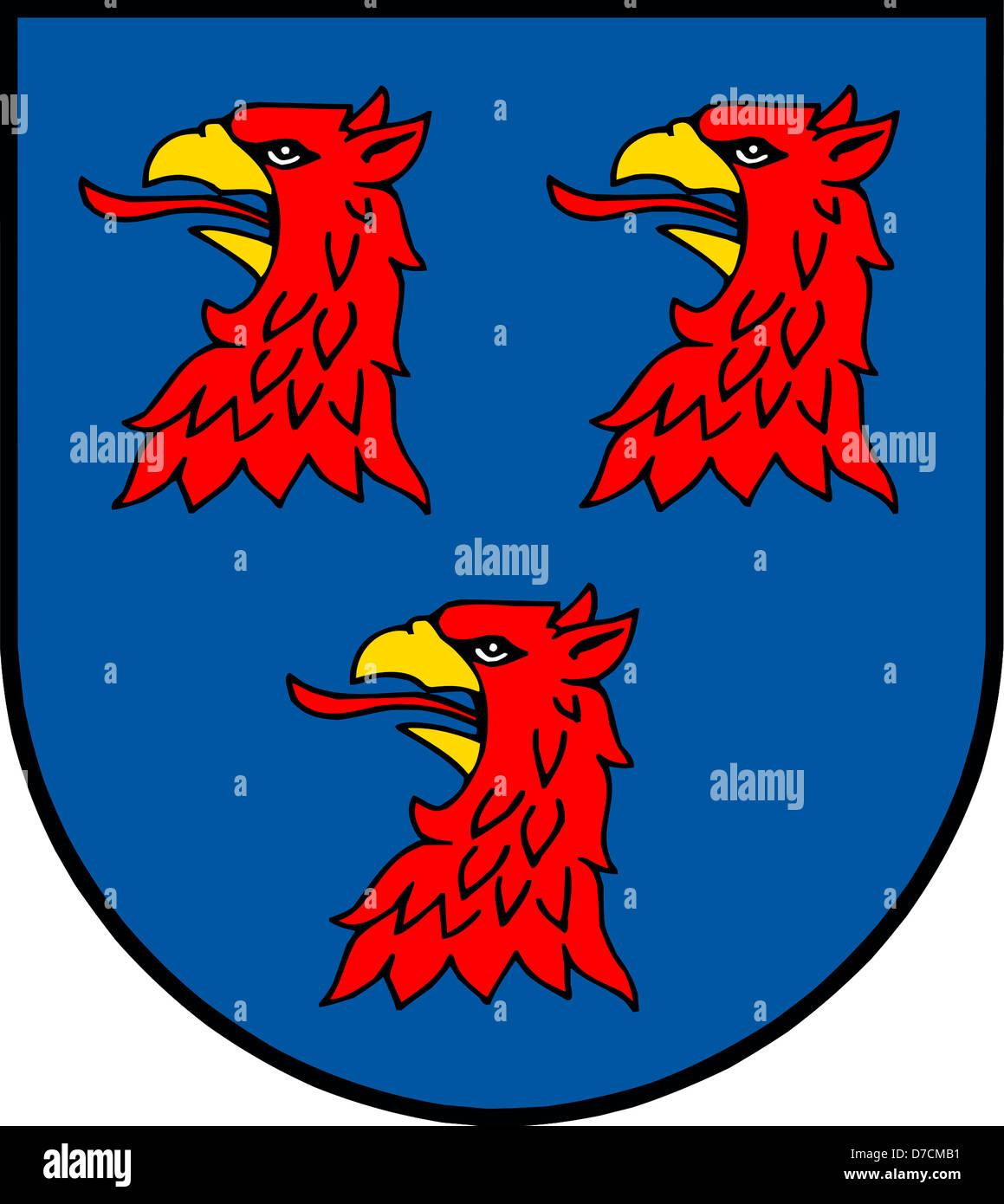 Wappen der deutschen Stadt Pasewalk in Mecklenburg-Vorpommern. Stockfoto