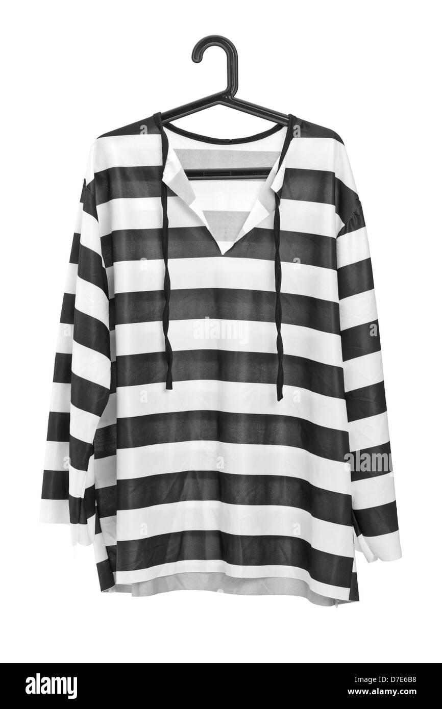Eine Studioaufnahme von schwarz / weiß gestreifte Gefängnis ...