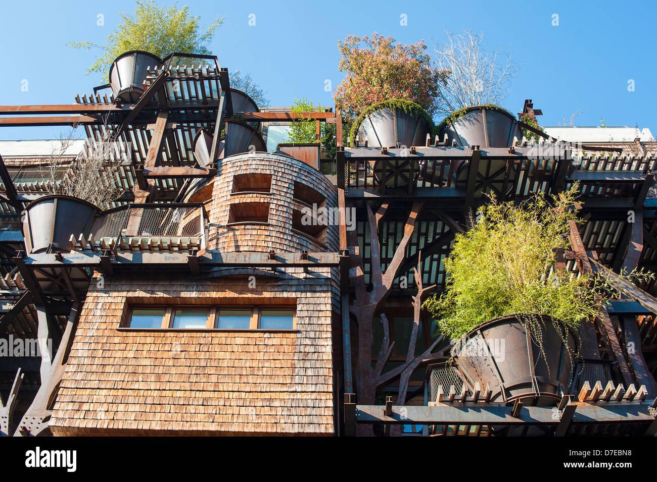 Europa-Italien-Piemonte-Torino moderner Architektur über Chiabrera das Baumhaus von Luciano Pia Stockbild