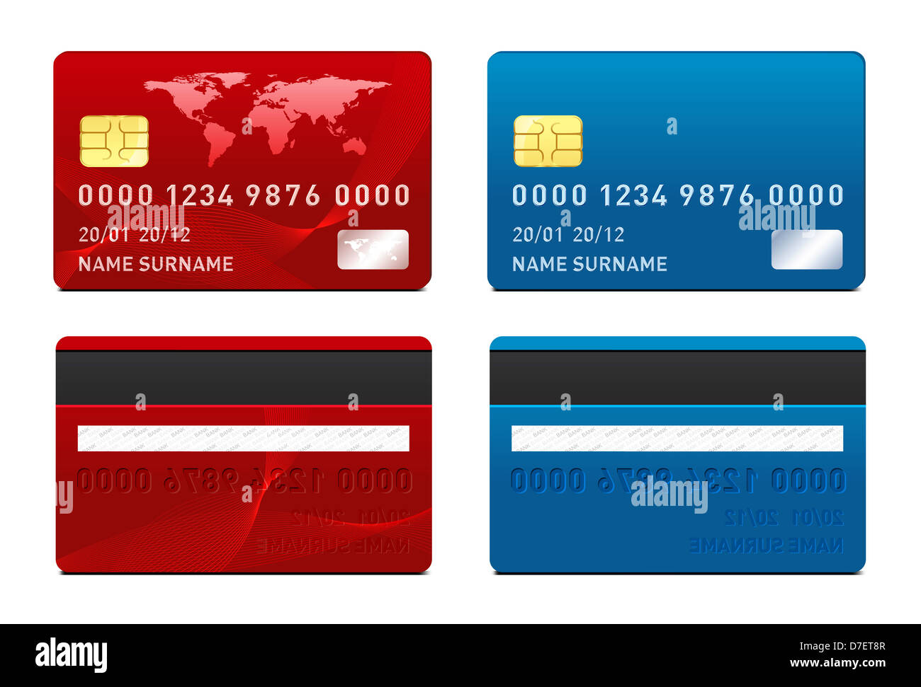 Kreditkarten-Vorlage. Vorder- und Rückseite Stockfoto, Bild ...