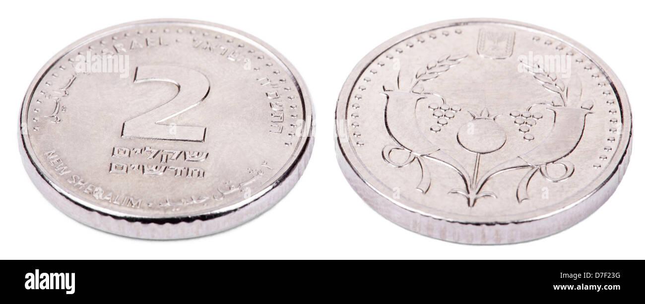Zwei Seiten eines israelischen 2 Schekel (Singular: Schekel) Münze ...