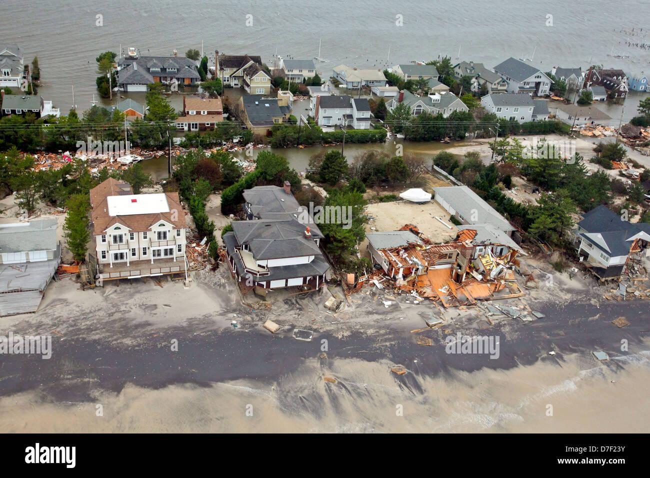 Luftaufnahmen der Schäden durch Hurrikan Sandy an der Küste von New Jersey 30. Oktober 2012. Stockbild