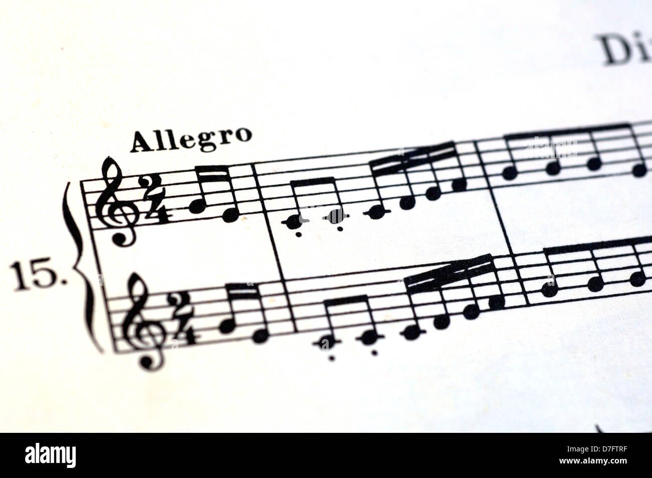 Blatt der Notenschrift, Personal, Musik, Daube Stockbild