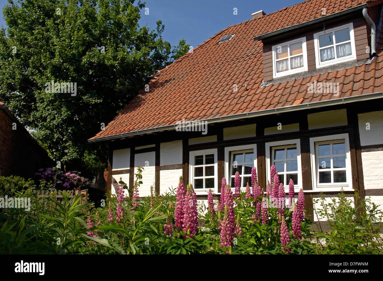 Architektur in Isernhagen, Standesamt, Deutschland, Niedersachsen, traditionelle Gebäude Stockbild