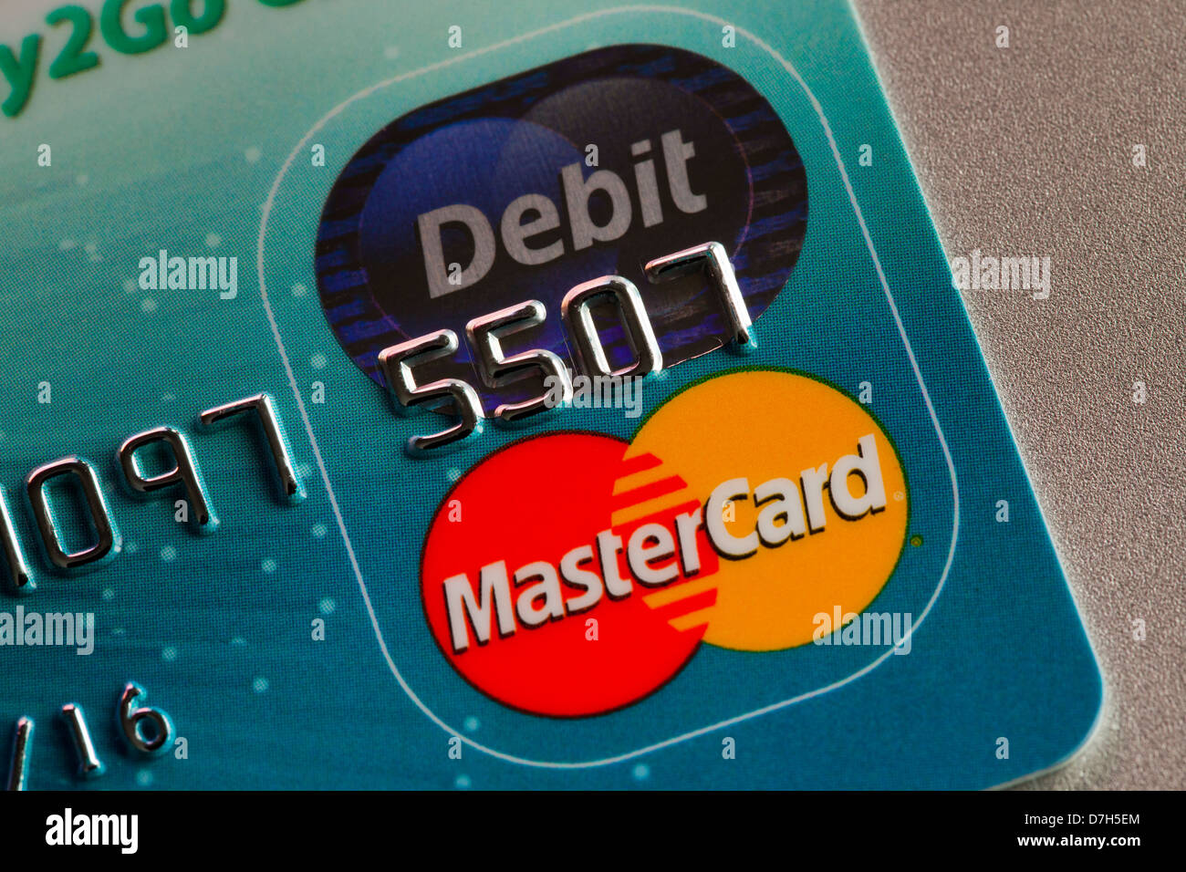 Master Card Debit Karte closeup Stockbild