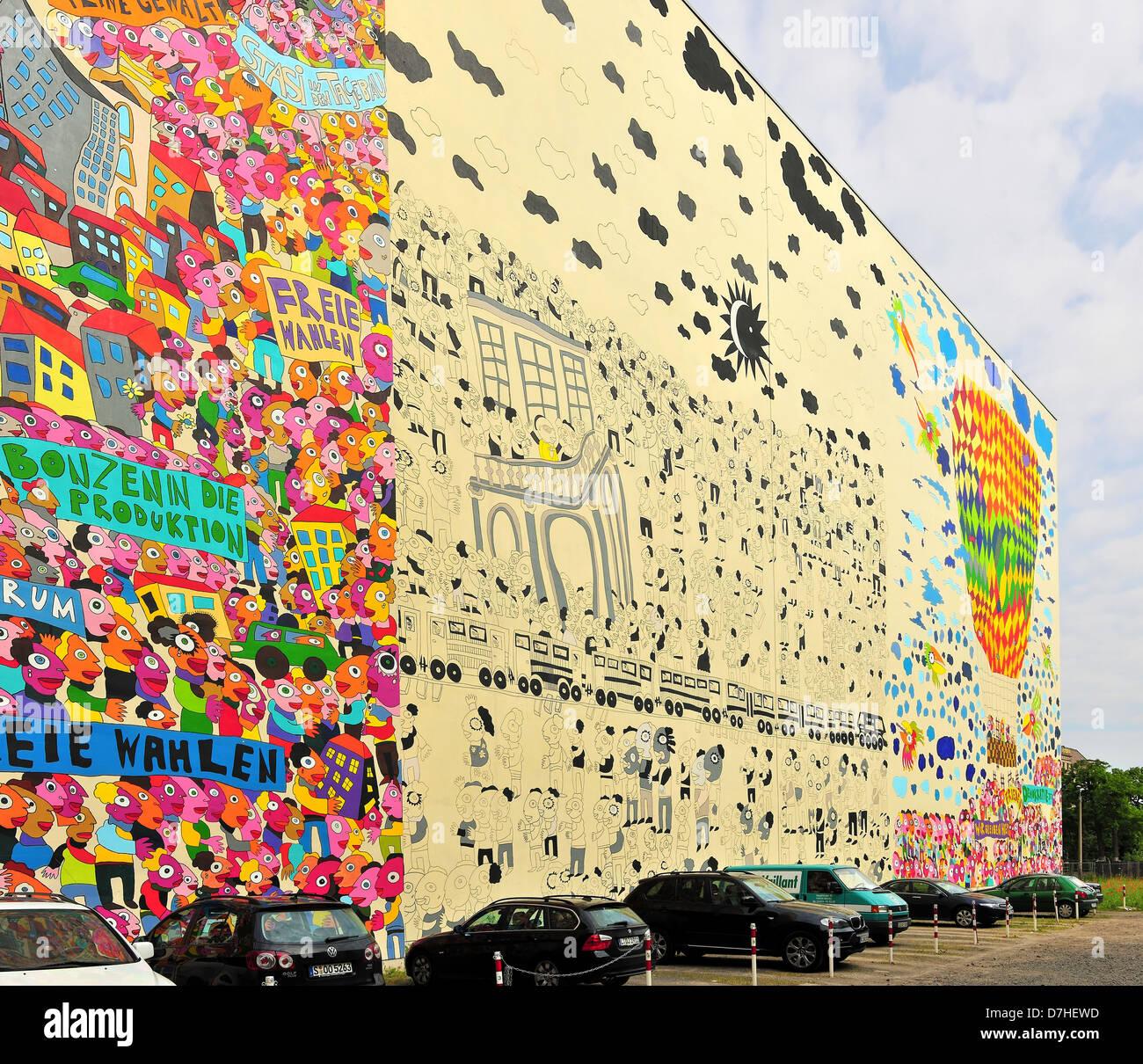 Fassaden-Malerei In Einem Haus In Leipzig Stockfoto, Bild
