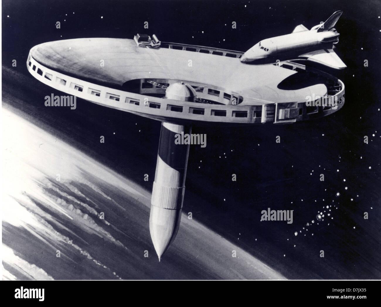 Ein 1977-Konzept für eine Raumstation zeichnen. Stockbild