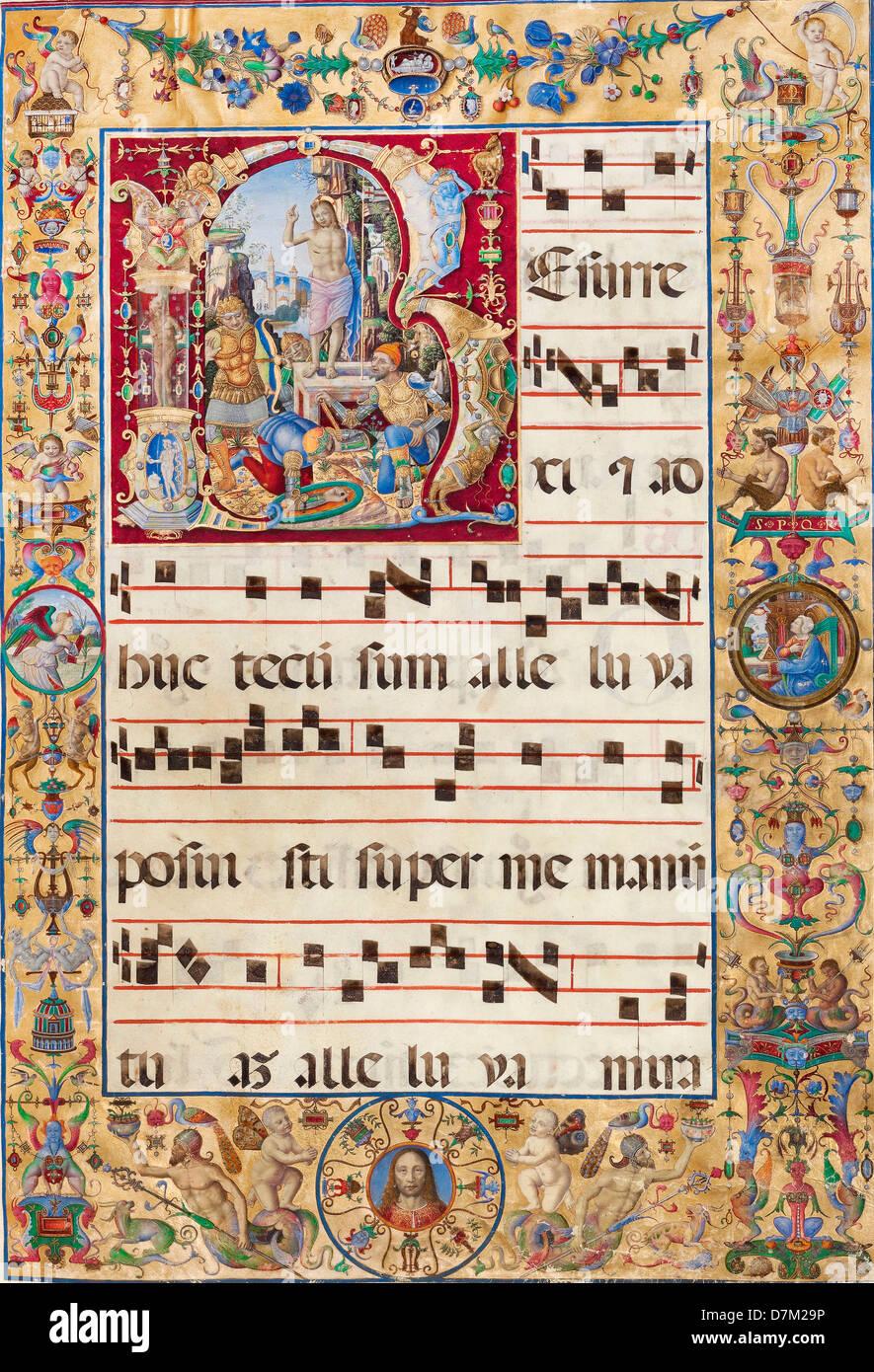 Antonio da Monza, die Auferstehung. 15. und 16. Jahrhundert. Tempera-Farben, Blattgold und Tinte. Das J. Paul Getty Stockbild
