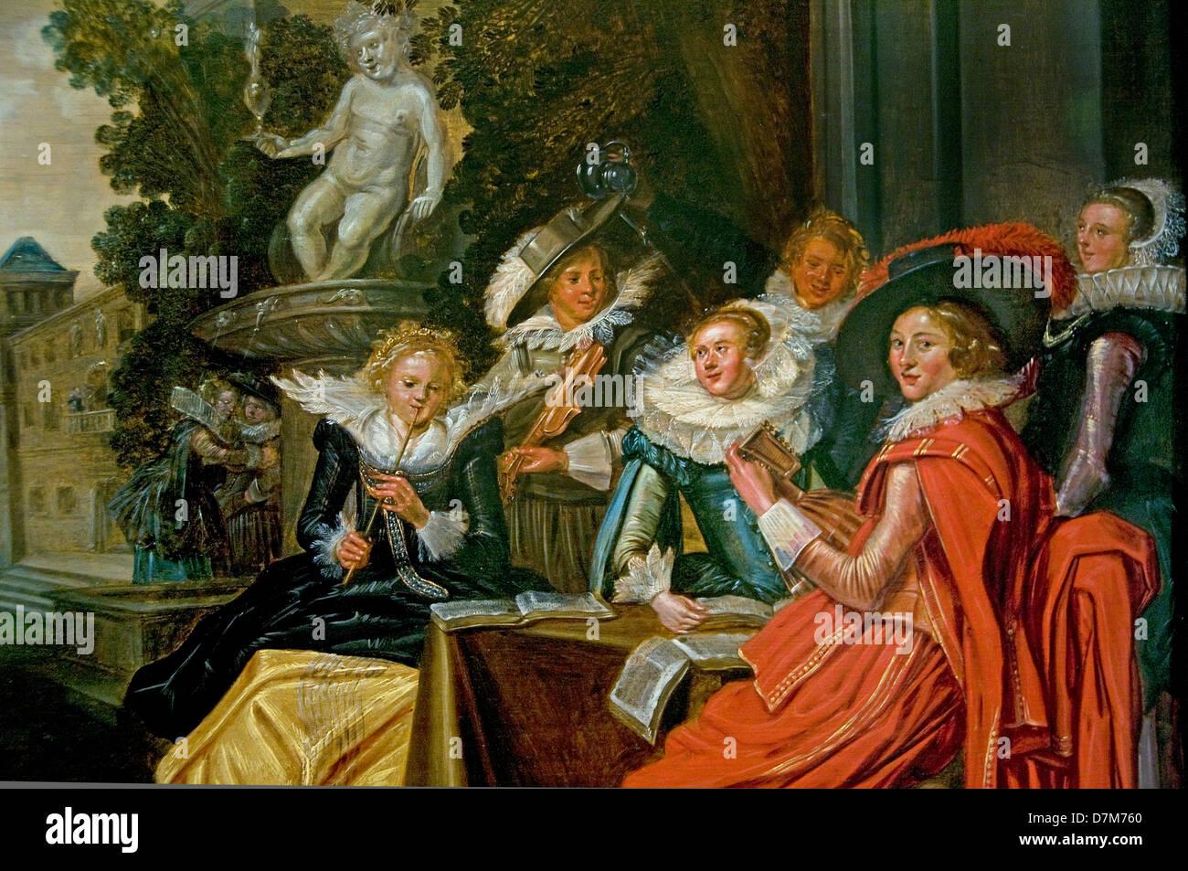 Dirck Fransz Frans Hals 1582-1666 Garten Party 1620 Museum Niederlande Stockbild