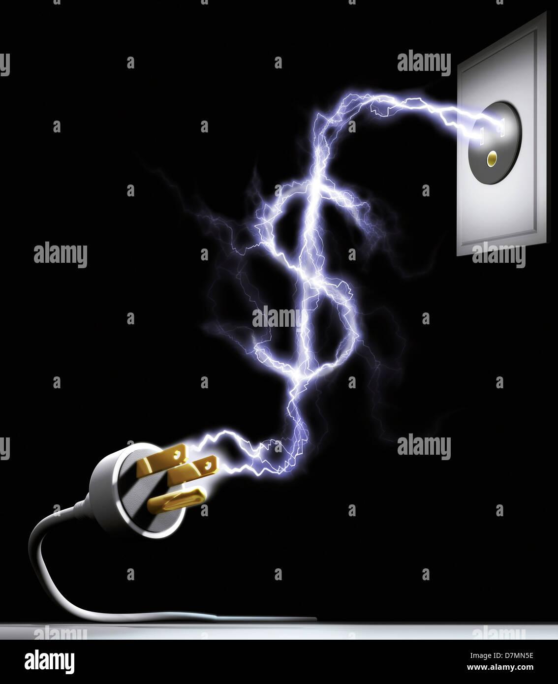Kosten für Strom, konzeptuellen Kunstwerk Stockbild