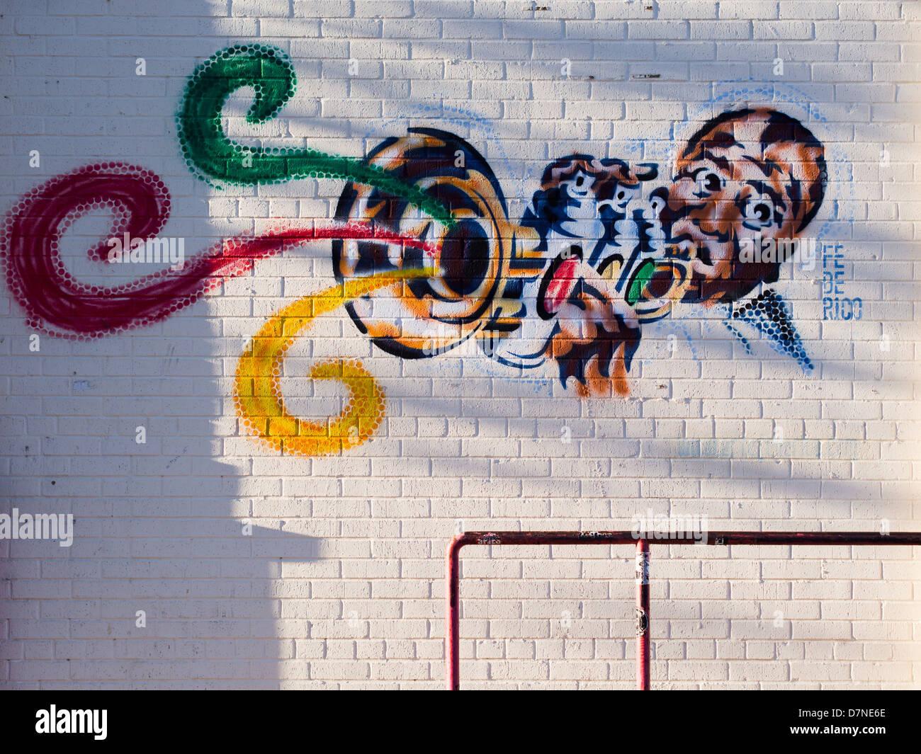 Louis Armstrong Graffiti von Federico Archuleta - Austin, Texas Stockbild