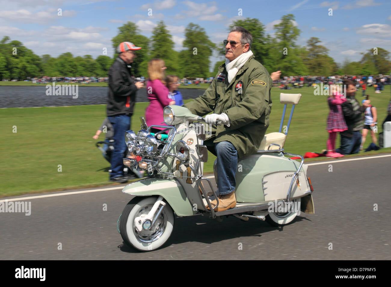 lambretta scooter in chestnut sonntag bushy park hampton court london uk