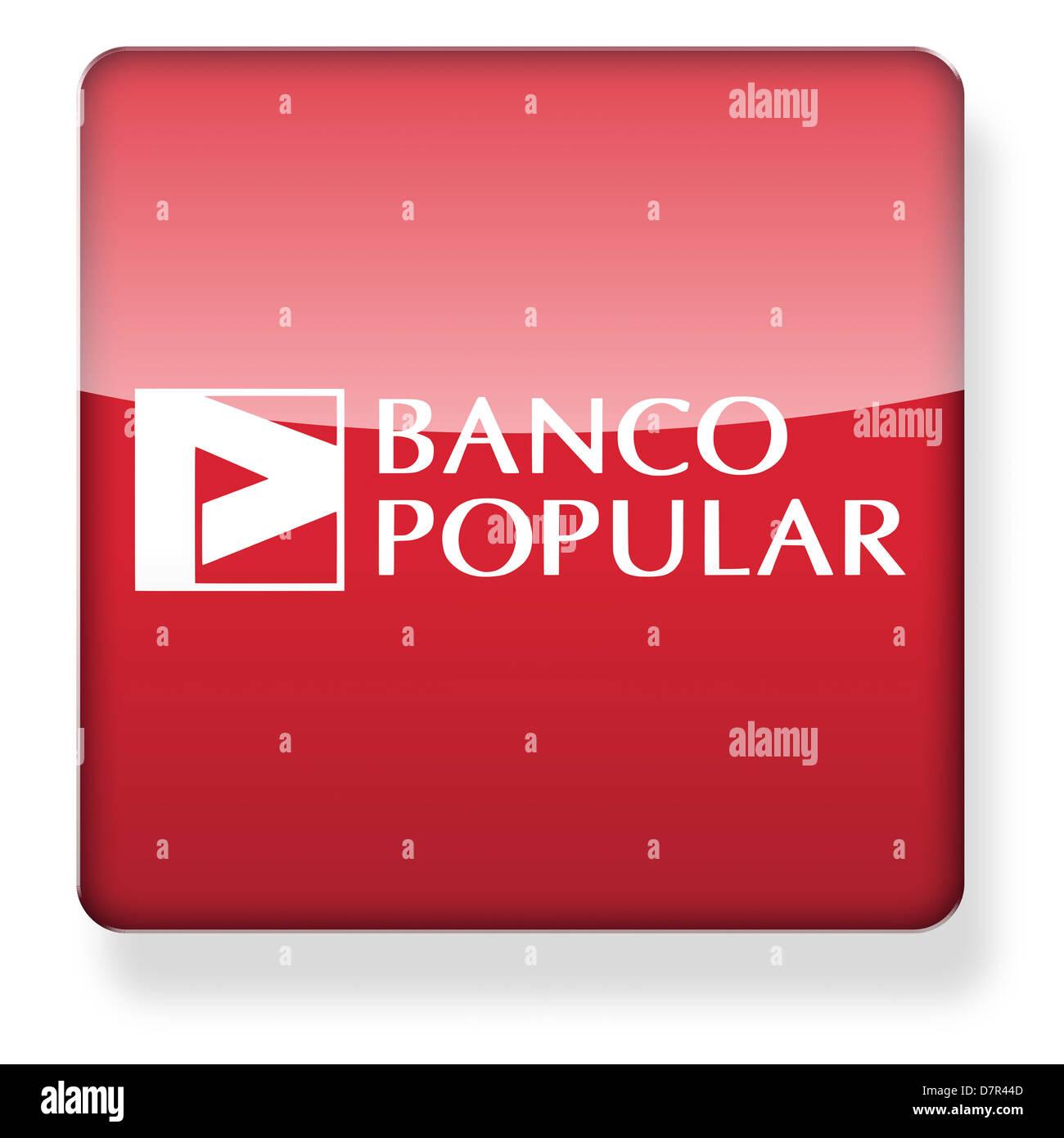 Banco Popular Logo als ein app-Symbol. Clipping-Pfad enthalten. Stockfoto