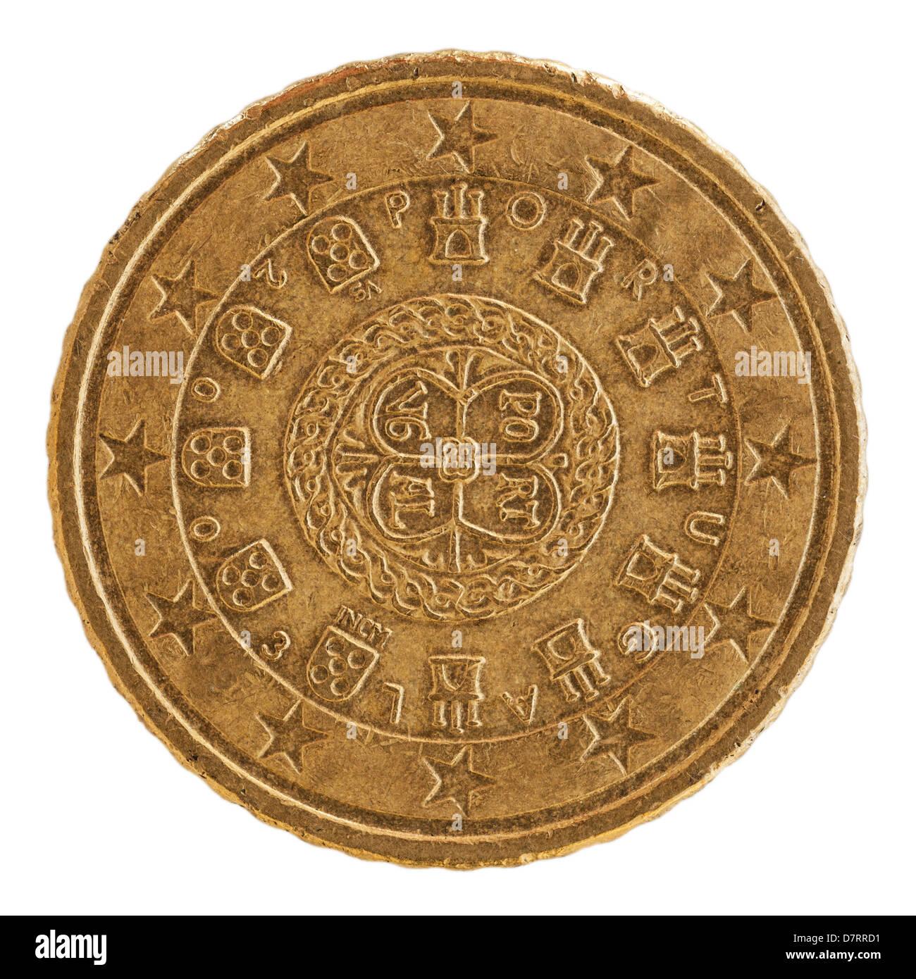 Eine Spanische Euro 50 Cent Münze Auf Weißem Hintergrund Stockfoto