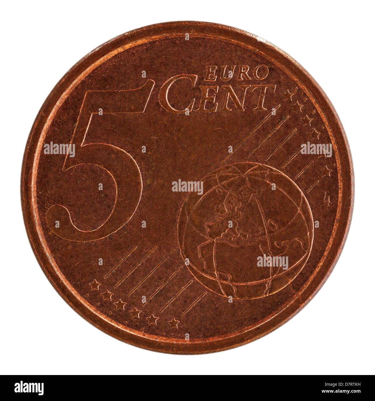 Einen Spanischen Euro 5 Cent Münze Auf Weißem Hintergrund Stockfoto
