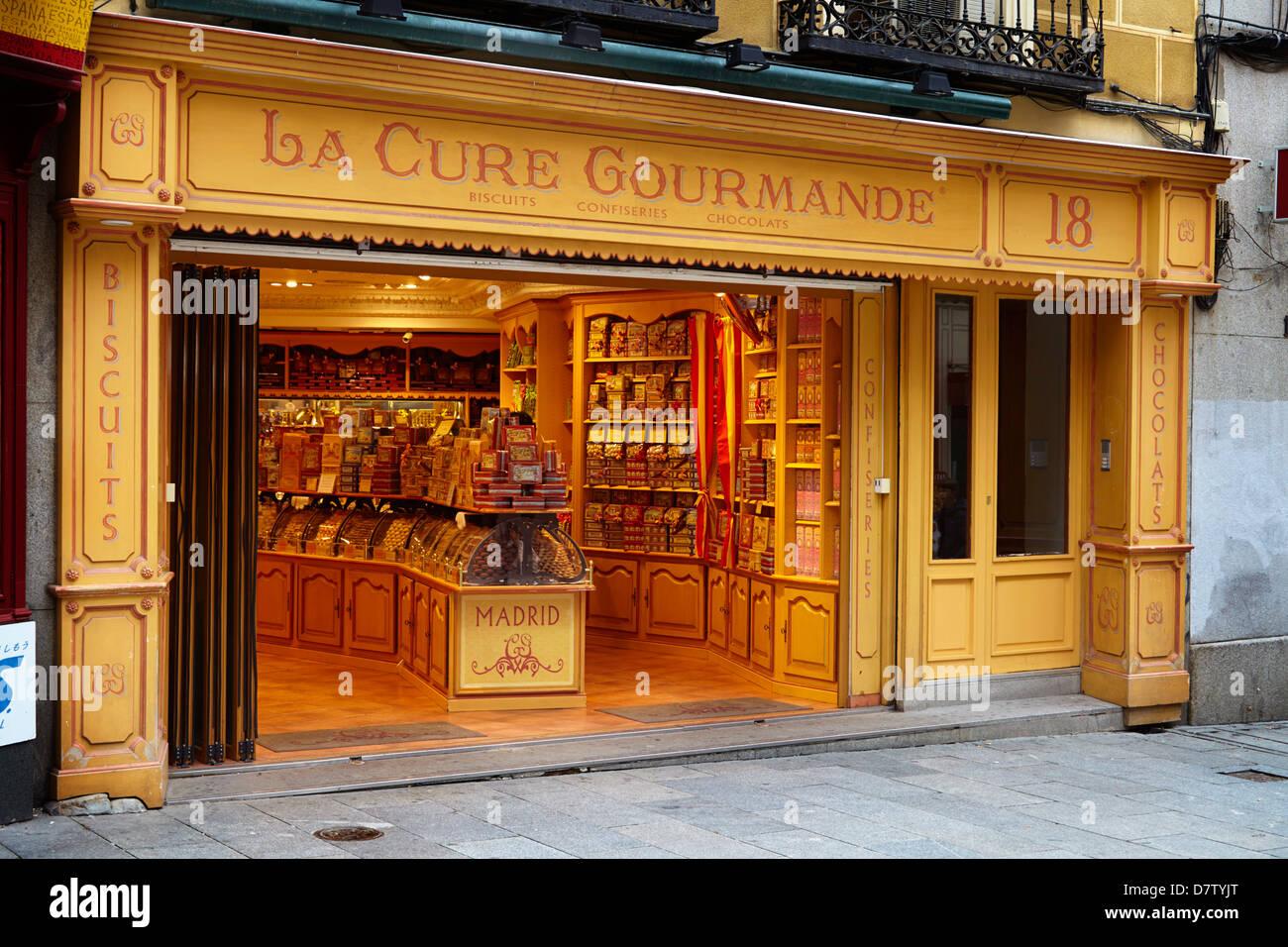 La Cure Gourmande Keks Shop, Madrid, Spanien Stockbild