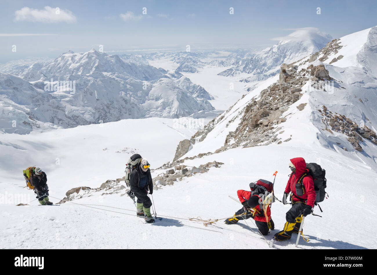 Klettern Expedition auf den Mount McKinley, 6194m, Denali National Park, Alaska, USA Stockbild