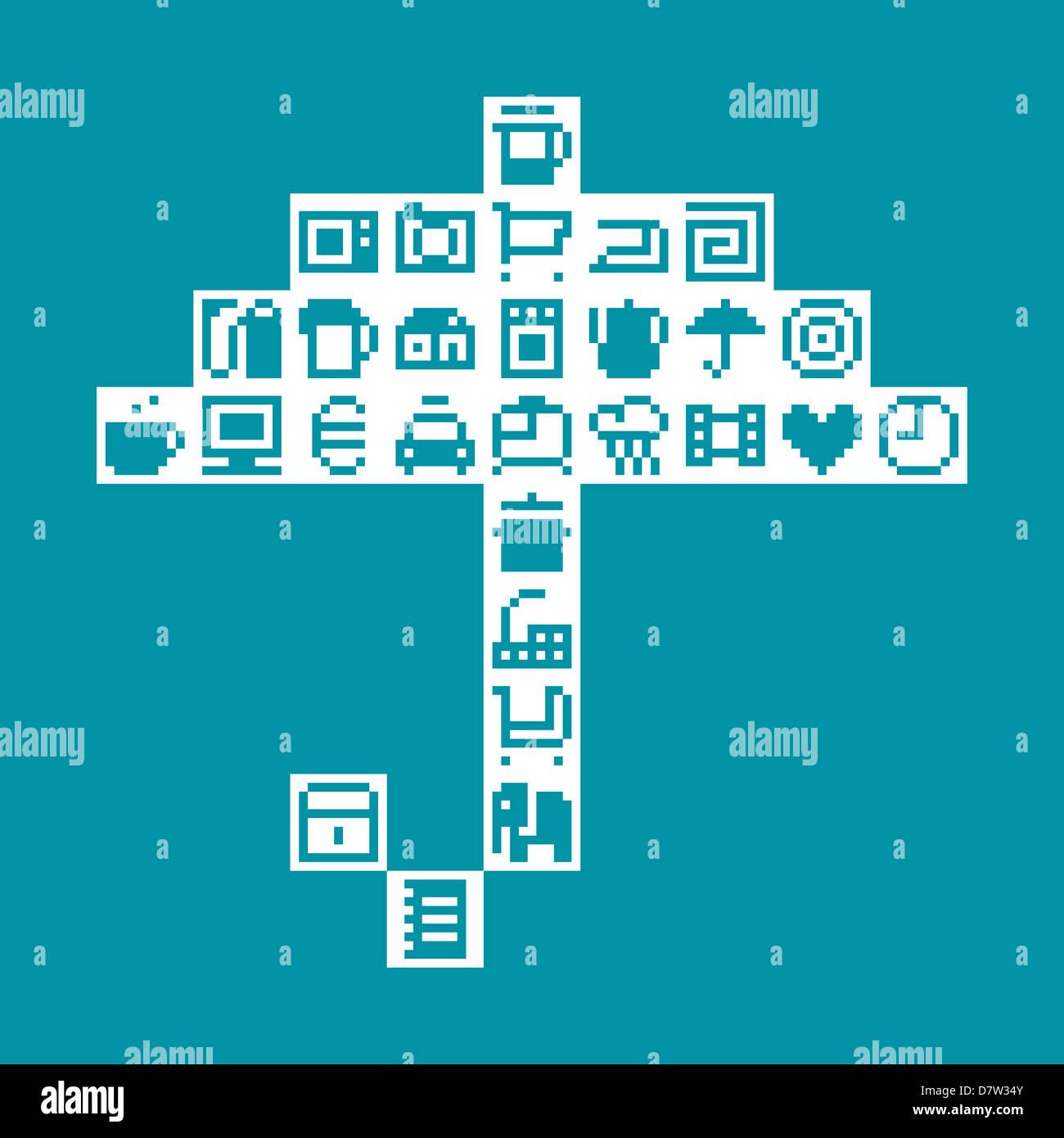 Pixel-Regenschirm. Vektor-illustration Stockbild