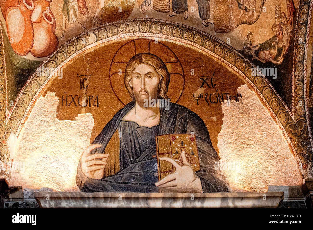 Mosaik des Christus als das Land der lebenden in das Esonarthex, Kirche des Heiligen Erlösers in Chora, Istanbul, Stockbild