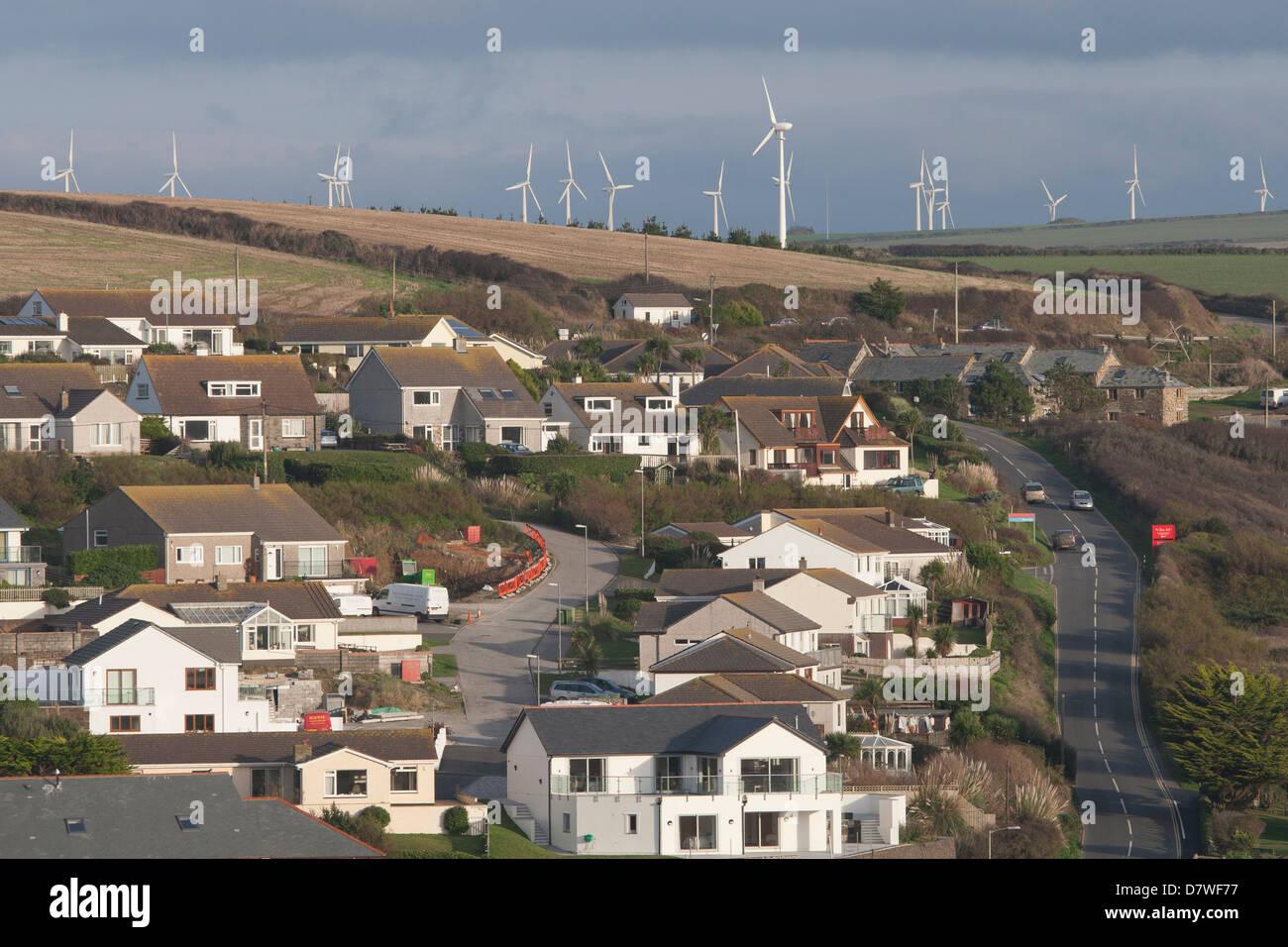 Wind Farm in der Nähe von Trenance, Cornwall Stockbild