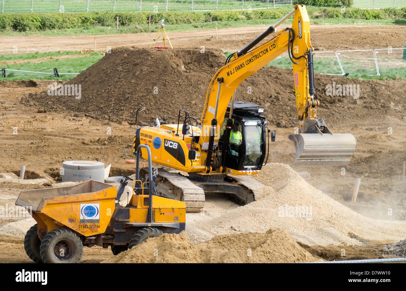 Bodenvorbereitung für Wohnanlage, Grantham, Lincolnshire, UK Stockbild