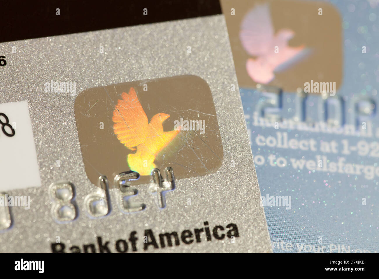 Kreditkarte Sicherheitshologramm Stockfoto