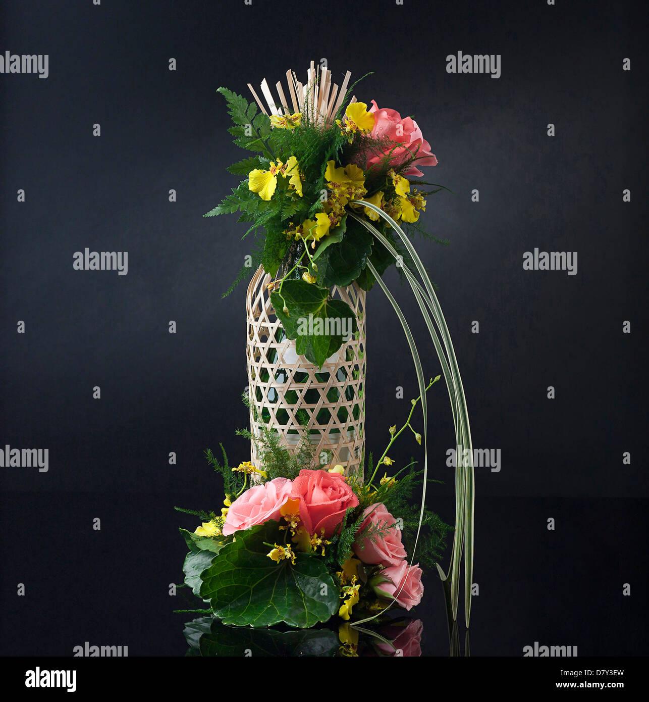 bamboo floral arrangement stockfotos bamboo floral. Black Bedroom Furniture Sets. Home Design Ideas