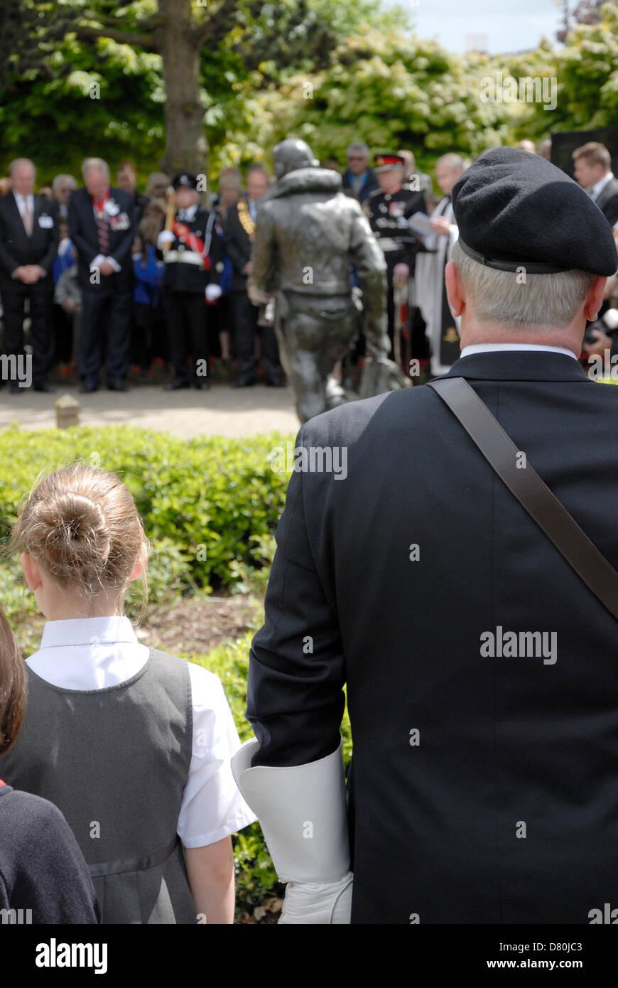 16. Mai 2013. Dambusters Raid 70. Jahrestag Gedenkfeier am Kings Hill, Kent, ehemaligen Gelände des Flugplatzes Stockbild