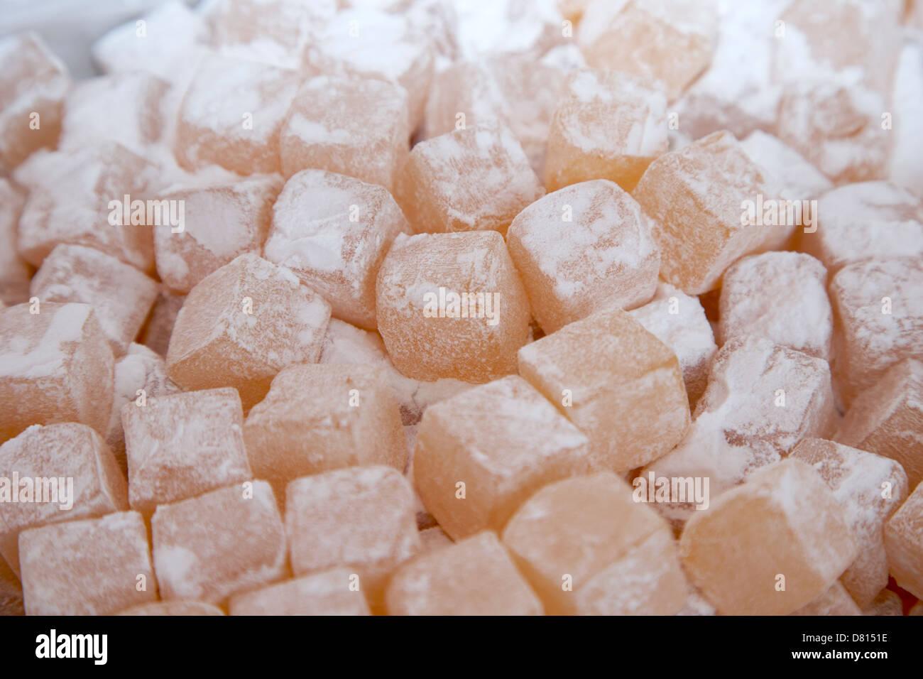 Zucker überzogen Lokum Stockbild