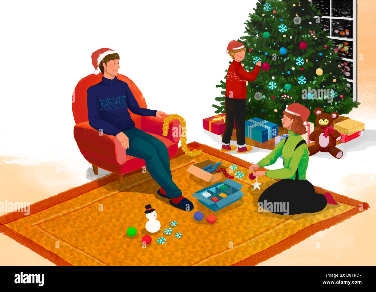christmas illustration family stockfotos christmas illustration family bilder alamy. Black Bedroom Furniture Sets. Home Design Ideas