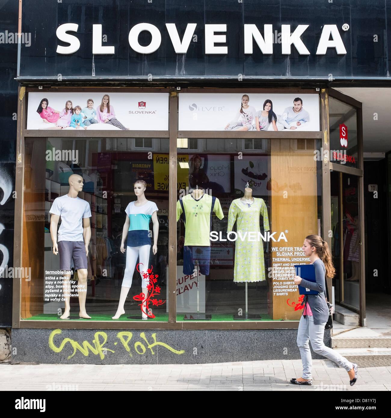 Ein Shop auf Obchodna Street, Bratislava Stockbild