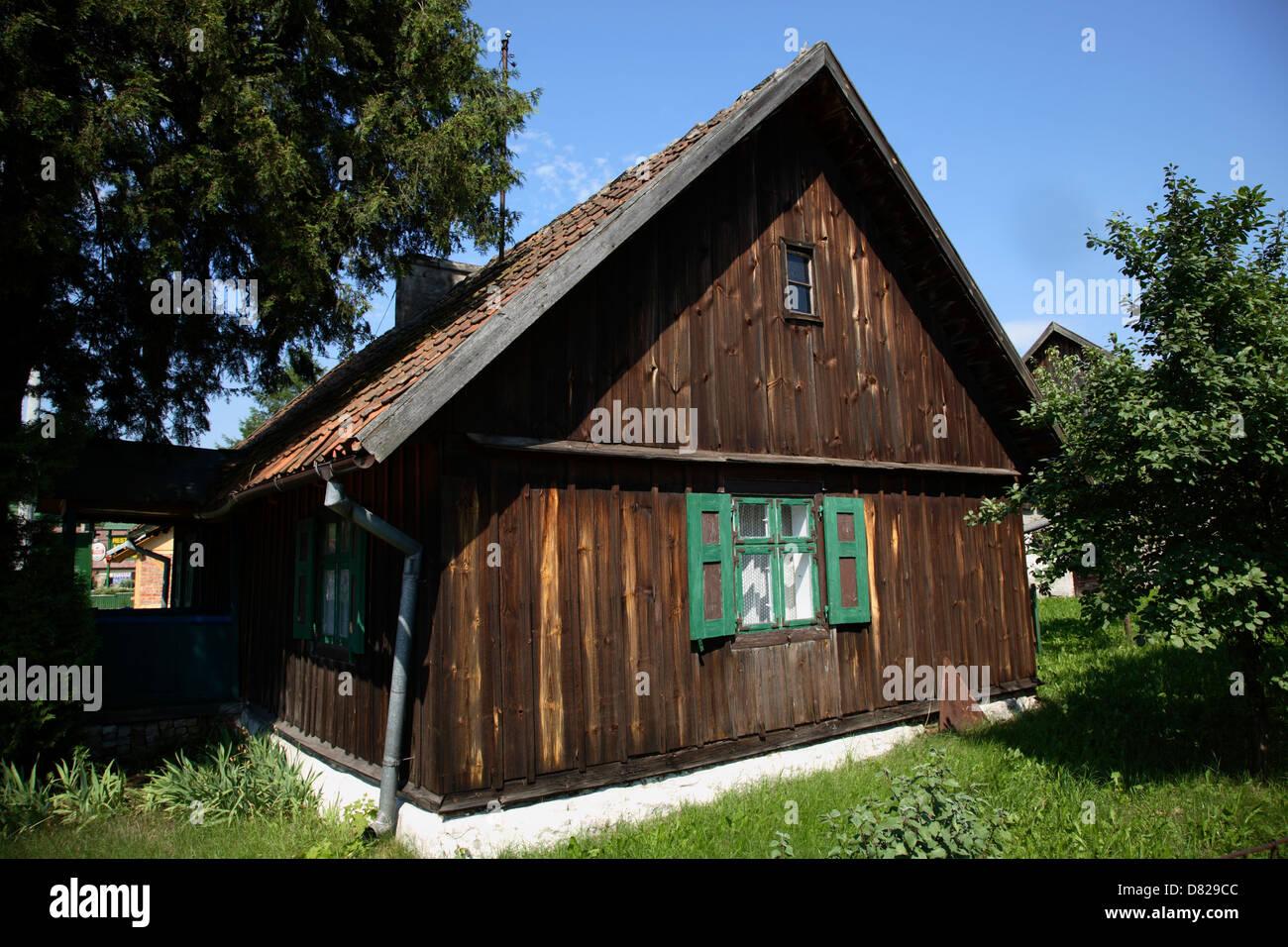 Typisches Holzhaus Masurische Seenplatte Polen Stockfoto Bild
