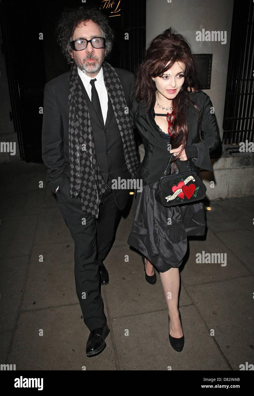 Helena Bonham Carter Und Tim Burton Verlassen Die Delaunay Restaurant Nach  Einem Romantischen Valentinstag Dinner. London, England   15.02.12