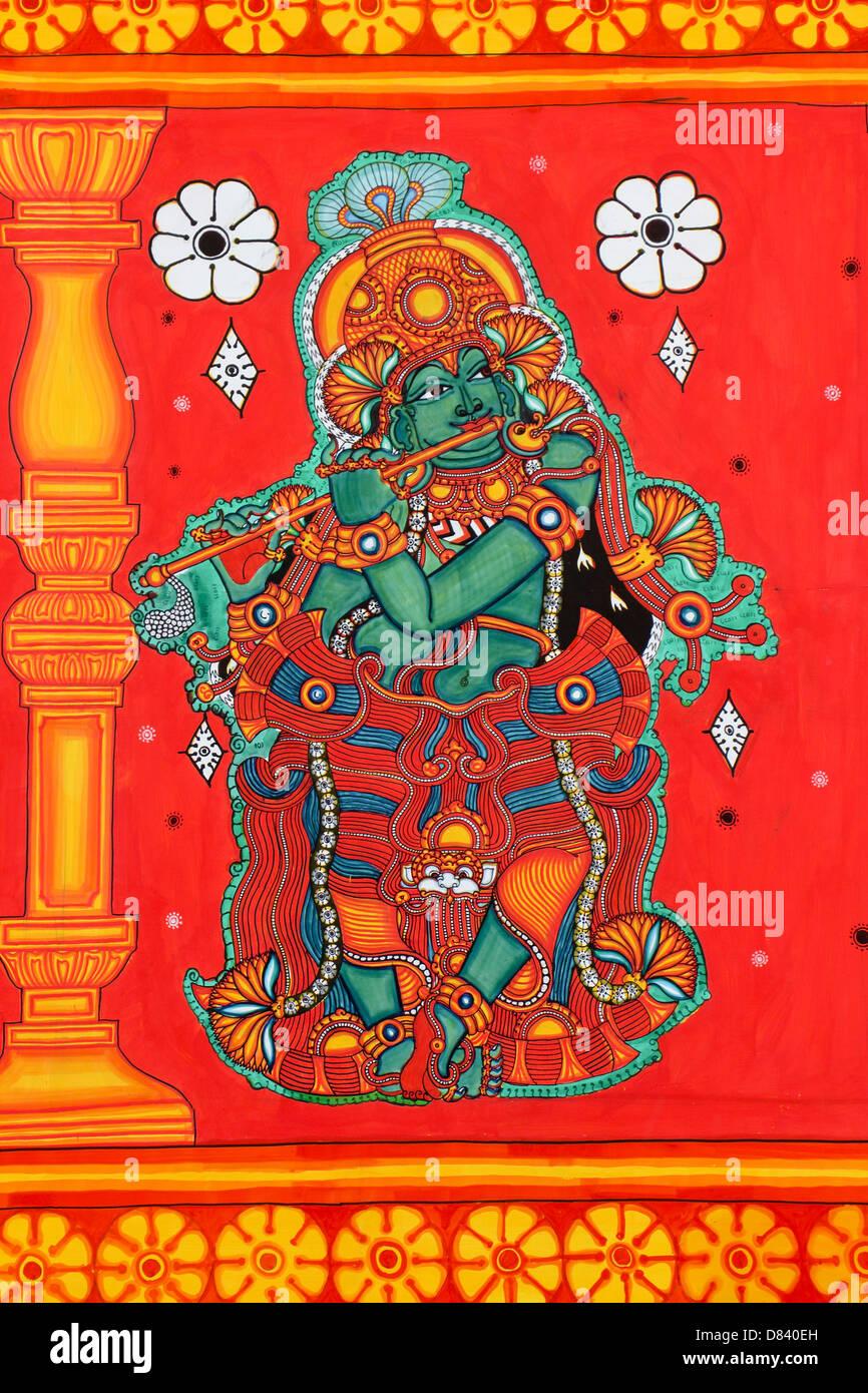 Wandbild mit Querflöte Gottes Sreekrishnan auf Leinwand malen Ehefrauen Krishna Gott mit 16008 Karmukilvarnan Stockbild