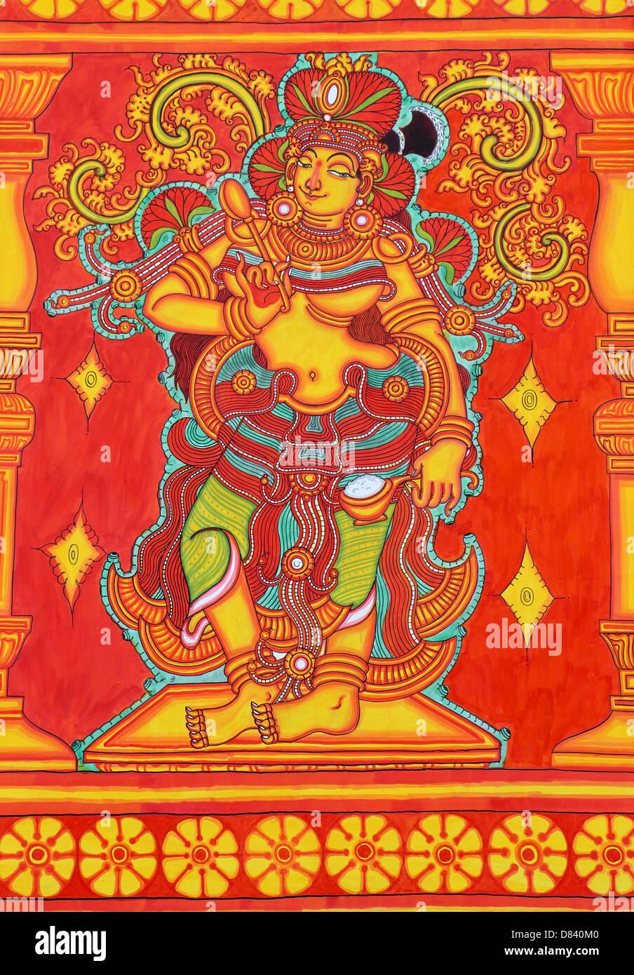 Wandmalerei auf Leinwand-Hindu-Gott Stockbild